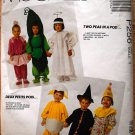 McCall's P256, 5017 pattern kids' costumes peas in a pod, angel, clown, egg, witch, ballerina