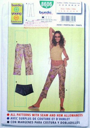 Burda 8606 pattern hot pants or daisy dukes, and hipster pants