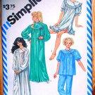 Simplicity 6174 asymmetrical gathered yoke nightgowns, pajamas vintage 1983