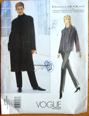 Vogue 2191 Donna Karan pattern for jacket and pants with smoking jacket style, size 8-12