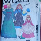McCall's  6363 pattern for girls' long dresses with apron or pinafore front size 7