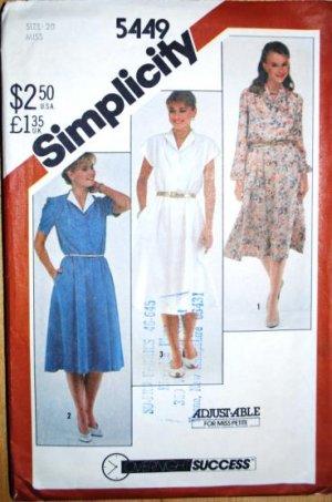 Vintage 1982 Simplicity 5449 pattern pullover dress, size 20