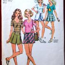 Simplicity 9928 vintage 1972 pattern for short pant-skirts and pullover top