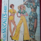 McCall's 4491 vintage 1975 pattern for beach outfits, pants, tie front top, shorts, skirt size 14