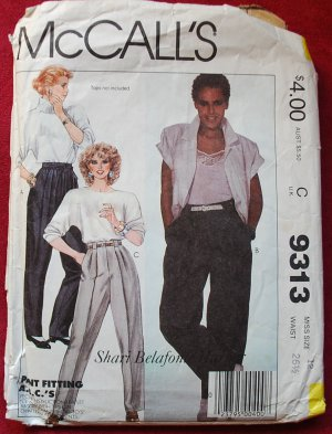 McCall's 9313 pattern Shari Belafonte Harper tapered and loose pants size 12, cut