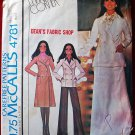 McCall's 4781 vintage 1975 pattern Marlo's Corner double breasted coat or jacket, skirt, pants