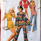 Simplicity 9422 vintage 1971 tunic, shorts, bell bottoms, bust 32