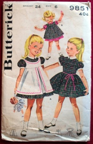 Butterick 9851 vintage 1950s-60s pattern for girls' pinafores dresses size 6