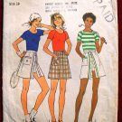 Simplicity 7499 vintage 1976 pattern for tennis skirts, pantskirts, skorts