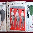 Set of vintage Advance patterns 9919, 9288, 9466, skirts and slacks, 1950s