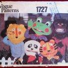 Vogue 1727 vintage Halloween masks, mittens and bag pattern: panda, frog, tiger, gorilla, lion
