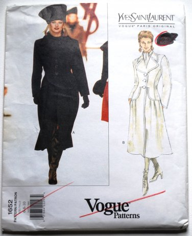 Vogue Paris Original 1652 Yves Saint Laurent 1995 coat pattern modeled by Linda Evangelista