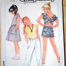 Vintage 1985 Simplicity pattern 6863 girls' 1980s beach top, capris, shorts and skirt, size 7-10