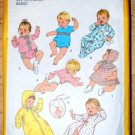 Vintage Simplicity 8761 newborn babies pattern for dress, bonnet, kimono, sacque, suit dated 1977