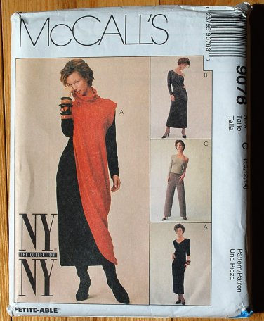 McCall's 9076 pattern NY NY collection dress pattern, off the shoulder, asymmetrical cowl dress