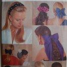 Butterick 5135 vintage 1990 pattern hair bows, snoods, hair tiebacks, roses, flowers, headbands