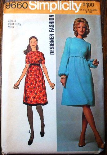 "Simplicity 9660 vintage 1971 dress pattern, lantern sleeves, Muir-esque or Patou-esque, bust 31.5"""