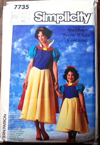 Simplicity 7735 Disney's Snow White costume pattern, small size best 30.5-31.5 inches