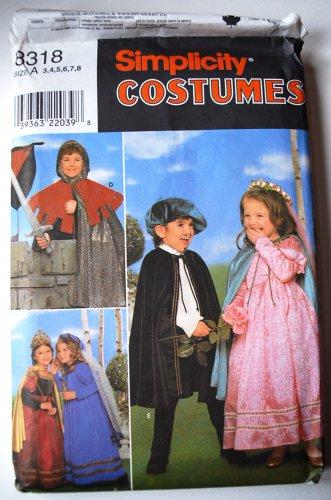 Simplicity Costumes 8318 Renaissance or Medieval costumes, kids' sizes 3-8, uncut