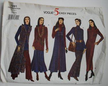 Vogue 1291 vest, dress top skirt pants 1993 pattern 5 easy pieces