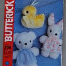 Butterick Craft 200 pattern for Easter bunny, chick, teddy bear stuffed animals