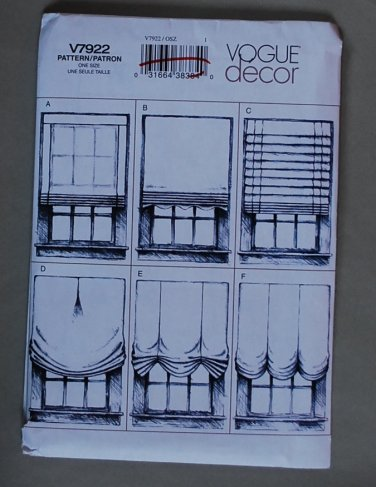 Vogue v7922 or 7922 pattern for window treatments blinds curtains