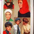 vintage cut 1968 Simplicity 7872 hat beret ascot hood sash one-size