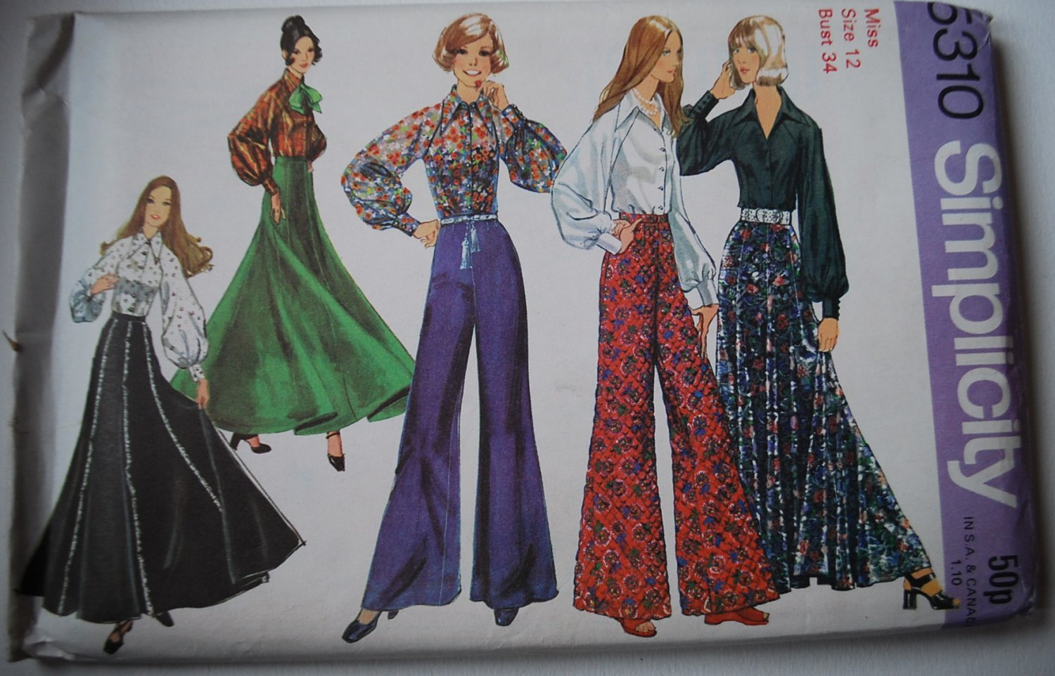 simplicity 5310 vintage 1972 pattern for palazzo pants and