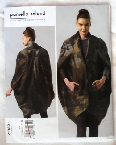 Vogue v1332 or 1332 Pamella Roland Avant Garde pea pod coat pattern sizes 6-14