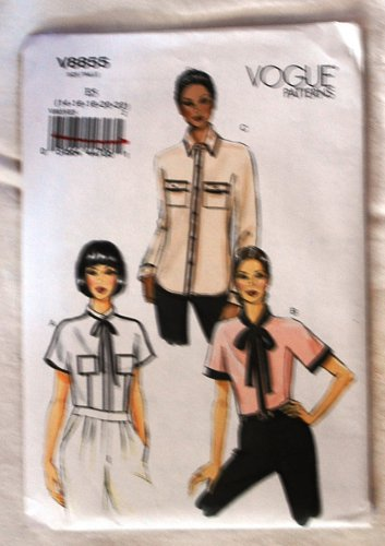 Vogue v8855 or 8855 pattern for blouses with piping or high contrast detail sizes 14-22