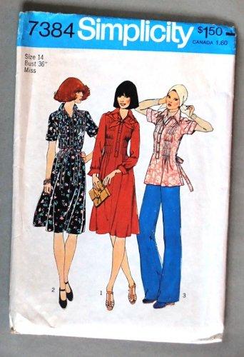 Simplicity 7384 vintage 1976 pleated dress pattern size 14