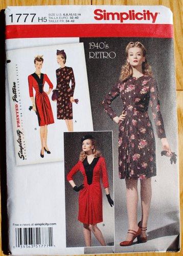Simplicity 1777 pattern for Retro 1940s dress with ruching around yoke or bib, sizes 6-14