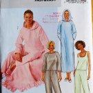 Butterick Fast & Easy 4038 pajamas sleepwear nightgown pattern xs,s,m