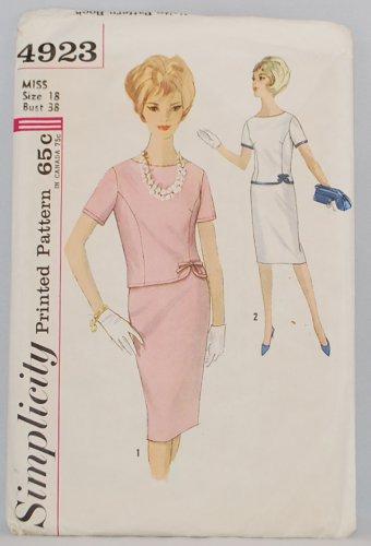 "Simplicity 4923 vintage 1950s-1960s two piece dress pattern size 18 bust 38"""