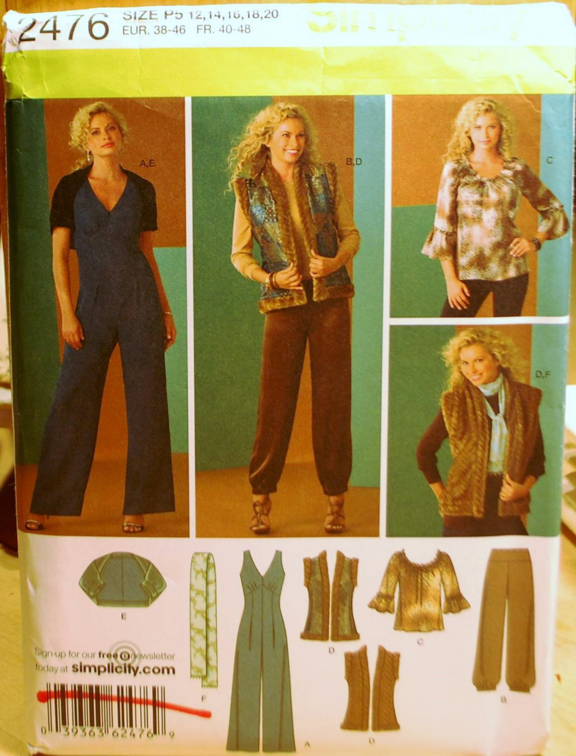 Simplicity 2476 Retro pattern including jumpsuit and fur-trimmed vest  sizes 12-20 .