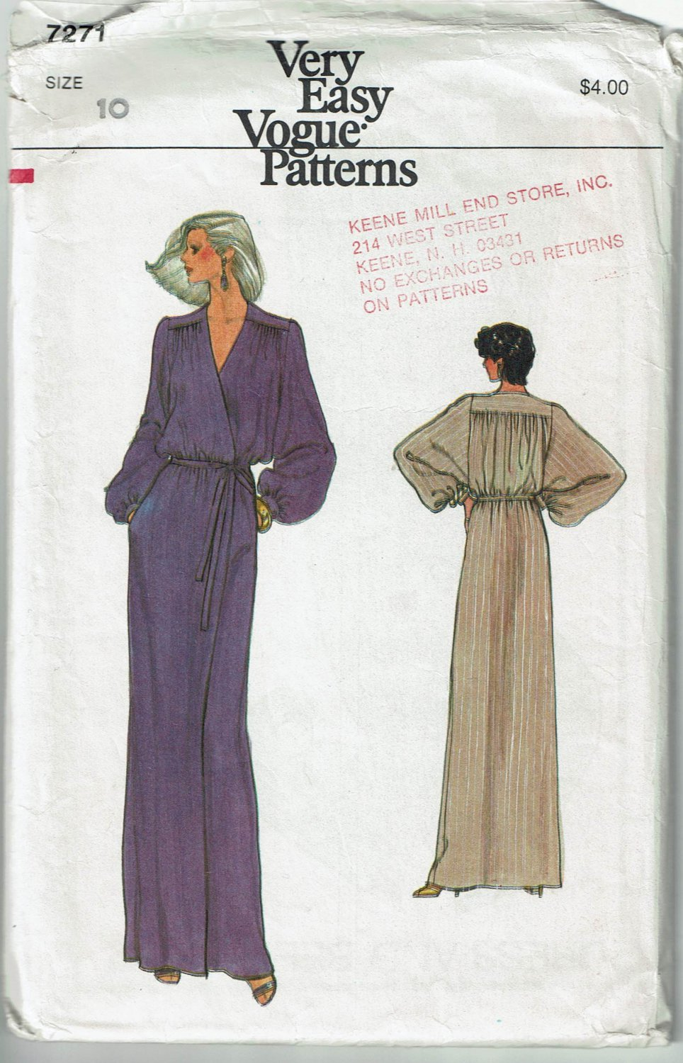 1970s Very Easy Vogue Pattern 7271 wrap dress or gown pattern size 10. Cut.