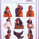 Burda sewing pattern 8127 accessories including hats, mittens, spats, purse, backpack
