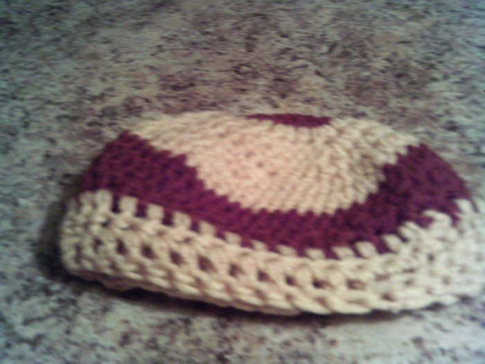 Small Light brown and dark brown crochet hat.