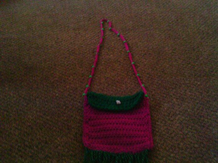 Crochet small Purple & Green handbag