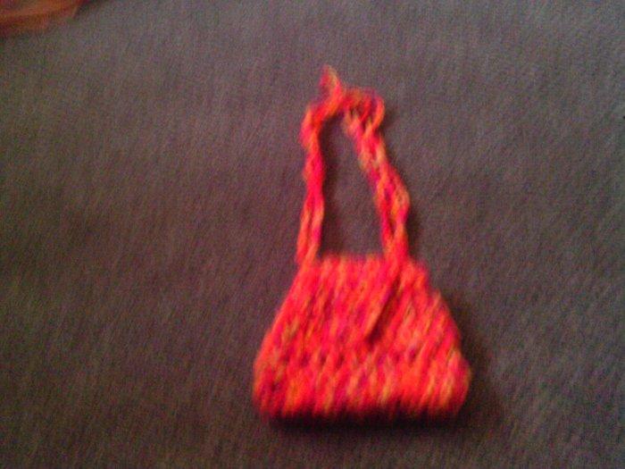 Crochet small yellow & orange handbag
