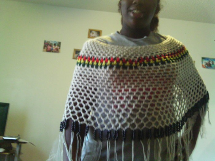 Crochet Large Beaded Pancho