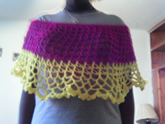 Crochet Medium Purple & Yellow Pancho
