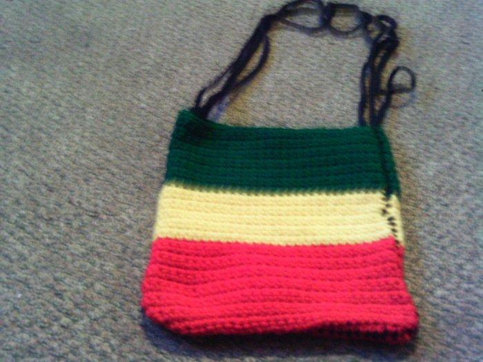 Crochet Small Red,Yellow & Green handbag