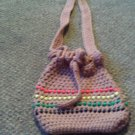 Crochet Medium Red,Yellow, Green  & Brown  Beaded handbag