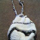 Crochet Medium white & Army Color Handbag