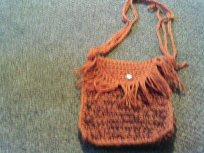 Crochet Small Brown Handbag