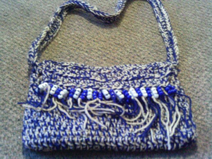 Crochet small blue & white beaded handbag