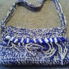 Crochet small blue & white beaded handbag