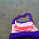 Crochet small Purple pink and red beaded handbag