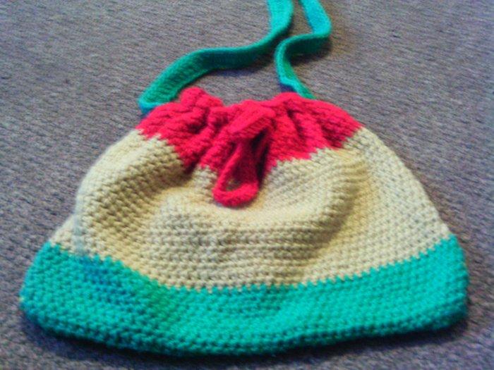 Crochet Medium Red,Yellow & Green handbag
